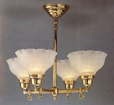Model H20 An Old Electric Reproduction in Polished Brass. Matching Wall Sconces always available!