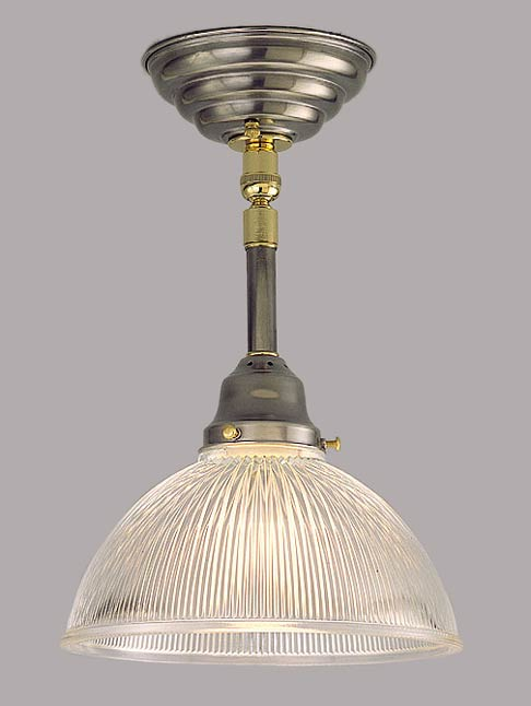 Model H44 Great Task Pendant Light in Pewter and Polished Brass. Custom Height No Problem!