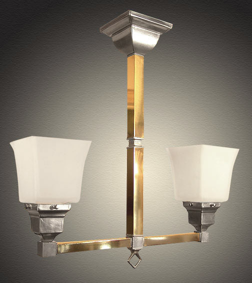 Model NSH12 Mission Style Short Fixture with Square Tubing and Glass Shades.
